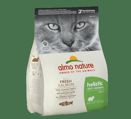 אלמו נייצ'ר הוליסטיק מזון יבש לחתולים בוגרים המסייע במניעת כדורי שיער – עם דג סלמון טרי