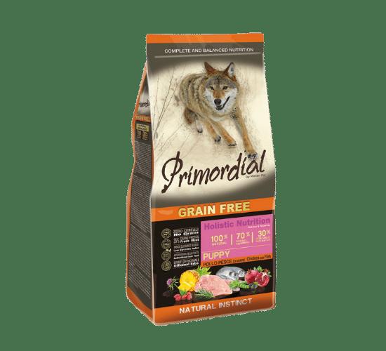 פרימורדיאל ללא דגנים לגורי כלבים עוף ודגי ים