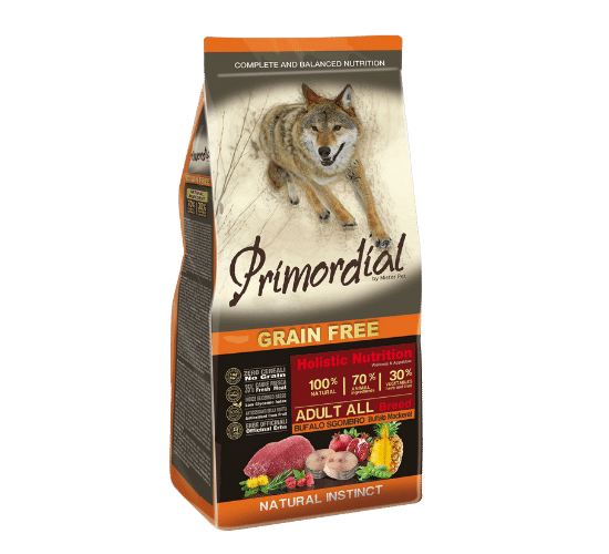 פרימורדיאל ללא דגנים לכלבים בוגרים באפלו ומקרל
